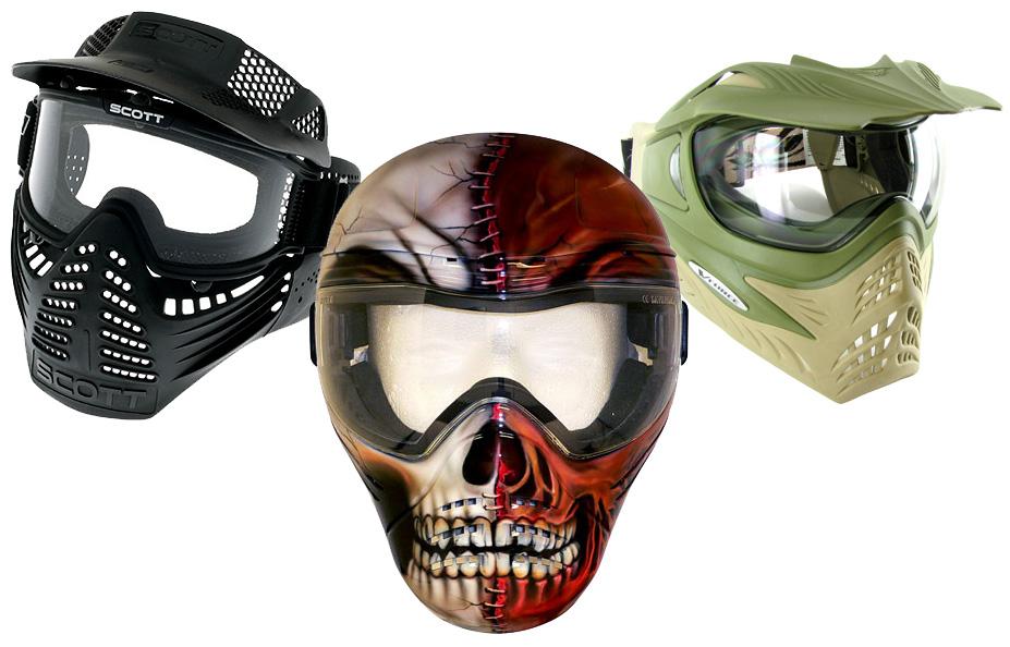 paintball guns and masks